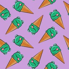 frog icecream cones (toss)  purple