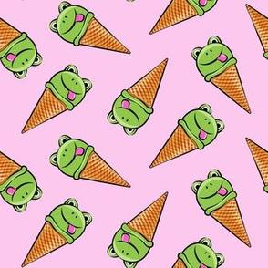 frog icecream cones (toss) pink