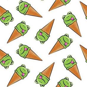 frog icecream cones (toss) white