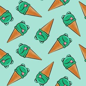 frog icecream cones (toss)  dark green on mint