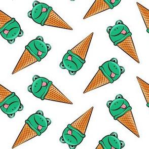 frog icecream cones (toss)  dark green