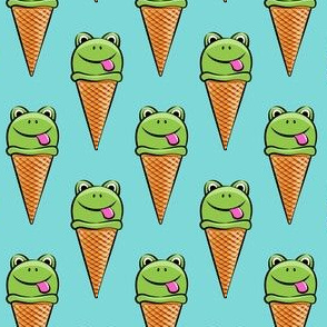 frog icecream cones on blue