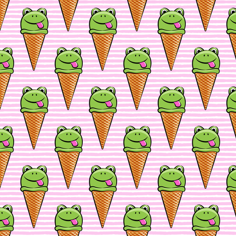 frog icecream cones on pink stripes fabric by littlearrowdesign on Spoonflower - custom fabric