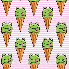 frog icecream cones on pink stripes