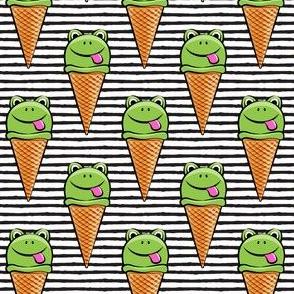 frog icecream cones on black stripes
