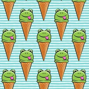 frog icecream cones on blue stripes