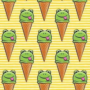 frog icecream cones on yellow stripes
