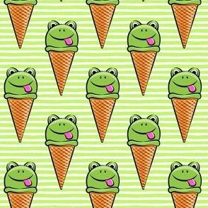 frog icecream cones on green stripes