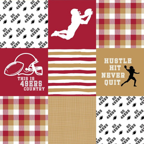 Football//Hustle Hit Never Quit - 49ers - Wholecloth Cheater Quilt