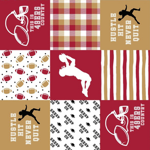 Football//Hustle Hit Never Quit - 49ers - Wholecloth Cheater Quilt - Rotated