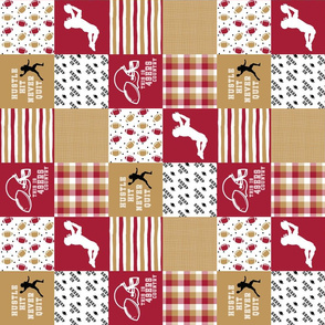 3 inch Football//Hustle Hit Never Quit - 49ers - Wholecloth Cheater Quilt - Rotated