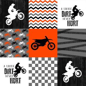 Motocross//A little Dirt Never Hurt - Florescent Orange - Wholecloth Cheater Quilt