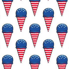 red white and blue icecream cones