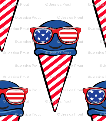 red white and blue icecream cones (with glasses)