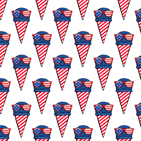 red white and blue icecream cones (with glasses) fabric by littlearrowdesign on Spoonflower - custom fabric