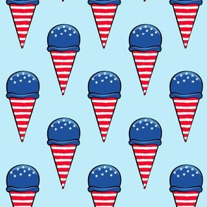 red white and blue icecream cones on blue