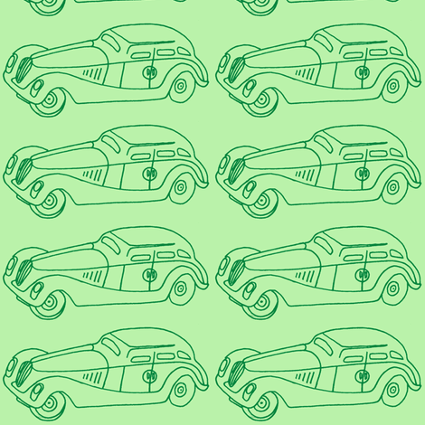Green 1930's Child's Toy Car fabric by edsel2084 on Spoonflower - custom fabric