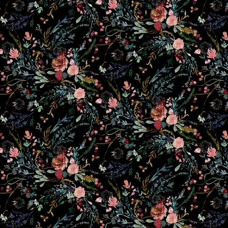 Fable Floral (black) MICRO fabric by nouveau_bohemian on Spoonflower - custom fabric