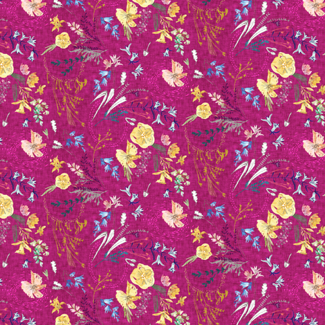 Let's Go Pick Wildflowers (magenta) MICRO fabric by nouveau_bohemian on Spoonflower - custom fabric