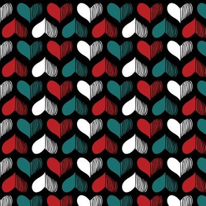 hearts Pattern Black