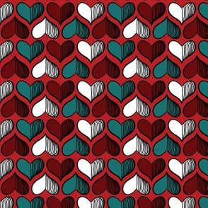 hearts Pattern Red