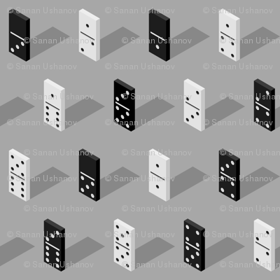 black And White Isometric Bones Dominoes