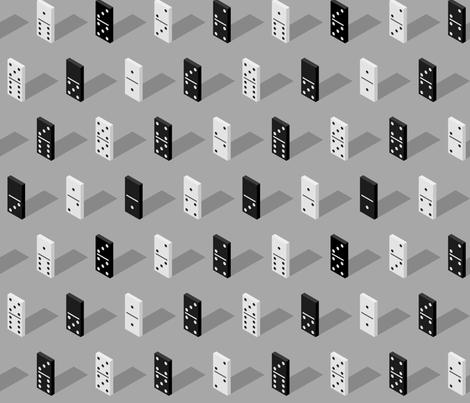 black And White Isometric Bones Dominoes fabric by blackfeathergrass on Spoonflower - custom fabric