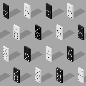 black And White Isometric Bones Dominoes