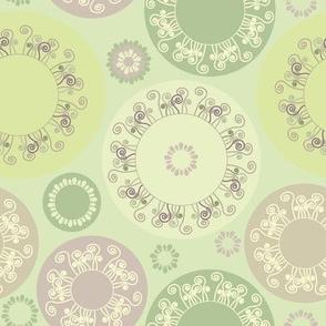pastel green circles