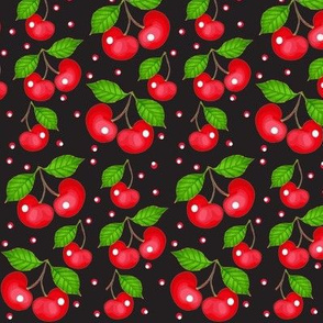 My Cherry Delight -Cherries on black w/ twinkle lights