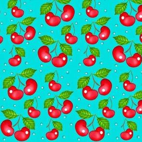My Cherry Delight -Cherries on blue