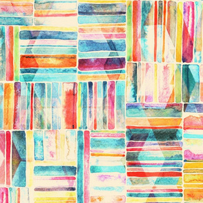 Summer Pastel Geometric and Striped Abstract on cream