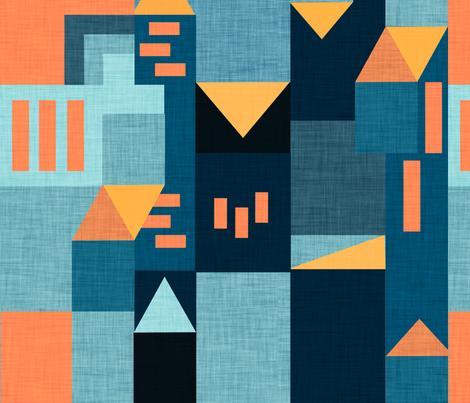 Bauhaus Teal Klee House  fabric by bruxamagica on Spoonflower - custom fabric