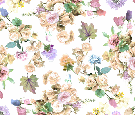 Begonias and Roses Beige fabric by elizabeth_chia on Spoonflower - custom fabric