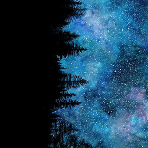 Starry night bordure Watercolor - a forest with a night sky full of stars