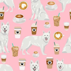 white shepherd (large scale)  fabric white german shepherds and coffees design - pink