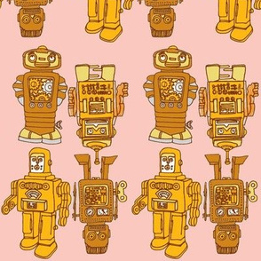 Playful Wind Up Tin Toy Robots (pink and goldenrod)