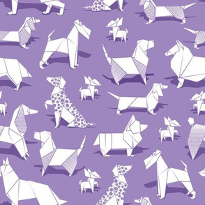 Origami doggie friends // small scale // violet background paper Chihuahuas Dachshunds Corgis Beagles German Shepherds Collies Poodles Terriers Dalmatians