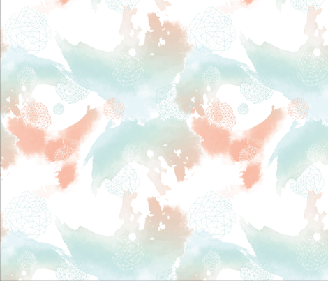 Aquarell_lachs_mint_Spoonflower  fabric by hilli_hiltrud on Spoonflower - custom fabric