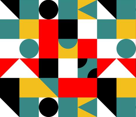 Boom Chicka Bau Bau circle in the square  fabric by vo_aka_virginiao on Spoonflower - custom fabric