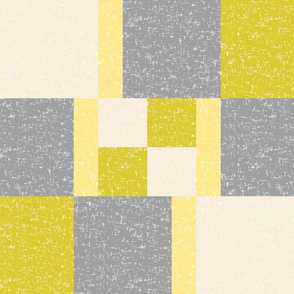 Yellow, chartreuse, cream + gray, white-flecked color block by Su_G