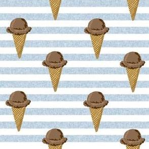 chocolate ice cream cones stripes summer beach food  blue