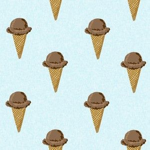 chocolate ice cream cones summer beach food  blue solid