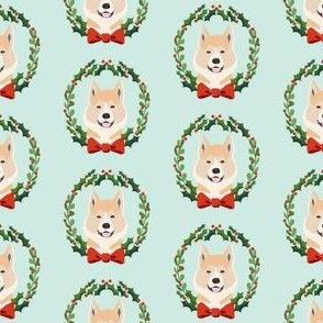 akita Christmas wreath dog breed fabric blue