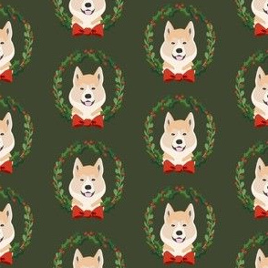 akita Christmas wreath dog breed fabric green