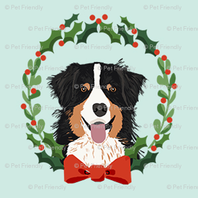 australian shepherd tricolored Christmas wreath dog breed fabric blue