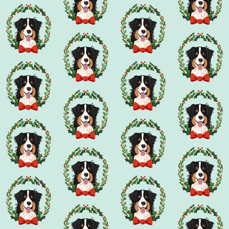 australian shepherd tricolored Christmas wreath dog breed fabric blue fabric by petfriendly on Spoonflower - custom fabric