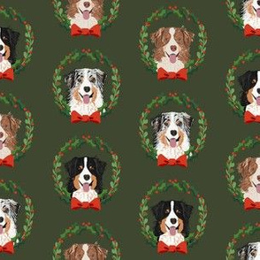 australian shepherds mixed coats christmas wreath dog breed fabric green