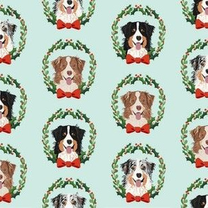 australian shepherds mixed coats christmas wreath dog breed fabric blue