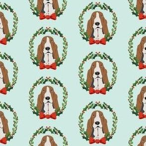 basset hound christmas wreath dog breed fabric blue